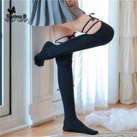 Çorap Hosiery 2021 Seksi Fasion Diz Üzerinde Diz Çorap Ile Kravat Gece Kulüpleri Külotlu Çorap Calcetines Siyah Lolita Çorap Dantel Üst Uyluk Yüksek