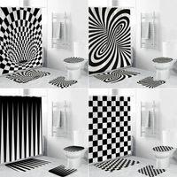Schwarz Weiß Geometrische stereoskopische Gewebe Duschvorhang Badezimmer Vorhänge Set Anti-Skid-Teppiche WC-Deckel-Abdeckung Bad-Matte-Teppich