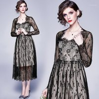 Mujeres Oficina de otoño elegante vestido de encaje negro sexy femenino de alta calidad Vintage Diseñador Vestidos Vestidos fiesta A-Line Robe Lady1