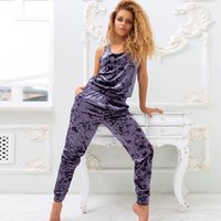 Lila Samt Frauen Pyjamas Sets Sleeveless Home Anzug Winter Pijama Tank Top Top Warme Lounge Wear Weibliche Set