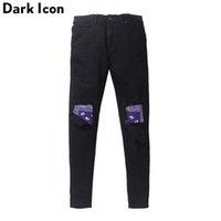 Icono oscuro Patchwork Patchwork Remado en la rodilla Hombre High Street Jeans Hombres Denim Pantalones