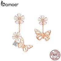 Bamoer бабочка и цветочные серьги эмаль цветочные асимметрии свисают серьги 925 стерлингового серебра вовлечение ювелирные изделия LJ201013