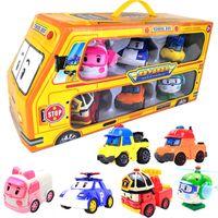 6pcs / 세트 원래 상자 Robocar Poli Korea Kids Toys 로봇 변형 애니메이션 액션 피규어 어린이를위한 그림 장난감 PlayMobil Juguetes Q1123