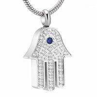 Collares colgantes XWJ10069 Mano de Fátima Moda Collar de mujer Cristales de incrustaciones NUNCA se desvanecen joyas de cremación de acero inoxidable para mantener las ashes1