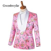 Gwenhwyfar coloré Begonia Flower Imprimé Hommes Convient aux costumes roses Tuxedos châle à double boutonnage Hommes Cuissons de mariage (veste + pantalon) 201124