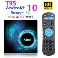 T95 Smart TV Box Android 10 4K 6K 4G 32GB 64GB 2.4g 5G WIFI Bluetooth 5.0 Quad Core Set-Top Boîte Media Player