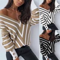 IMCUTE Damen Mode aus Schulter gestrickter Pullover Sexy V-Ausschnitt Langarm Gestreifter Lose Pullover Spring AUUTMN Pullover 2021 Neu