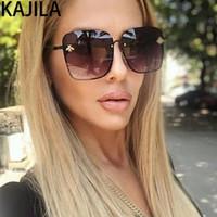جديد وصول المتضخم مربع النحل النظارات الشمسية النساء المعادن الإطار التدرج نظارات الشمس الظل ل WomanuV400 1843