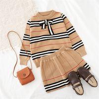 2020 outono nova chegada meninas de malha 2 peças terno top + saia crianças roupas meninas roupas c0320