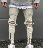 الرجال ممزق ثقوب جينز دراجة نارية السائق الدينيم للرجال العلامة التجارية مصمم الهيب هوب رجل جينز 11
