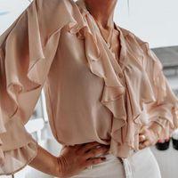Сексуальная с длинными рукавами повседневная рубашка блузка женщины 2019 топы летом взвешенные ламинированные рубашки западный бутон шелковая марлевая топ блузка1