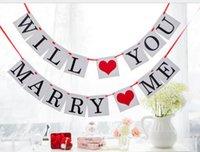 PROPUESTA ¿Te casarás con la fiesta de cumpleaños de la flor de la boda la decoración del día de San Valentín Banner7. Aniversario de boda disponible