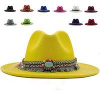 Cowboy Vintage Fedora Hüte für Männer Frauen Hut 2020 Neue Fascinator Breite Rand Hut Weibliche Hochzeit Imitation Wolke Western Pelz Filz Q1216 Y0910