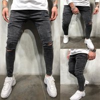 ENS Fashion Zipper Jeans College Boys Skinny Straight Zipper Denim Pantalon Denim détruit Jeans Black Taille S-3XL