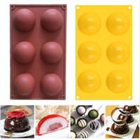 Moule en silicone de 6 trous pour gâteaux de chocolat gelée PUDDING SOAP à la main SOAP Forme ronde moitié Sphère Moule Non Stick Cupcake Cuisson Moules CCA12659