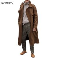 Jodimitty Moda Erkekler Uzun ceketler Sonbahar Kış Kalın İş Casual Trençkot 2020 Yeni Erkek Uzun WINDBREAKER Dış Giyim