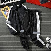 Set da uomo hip hop autunno patchwork trackwork tuta maschio stand colletto giacca sweatsuit tuta tuta da uomo vestiti casual abbigliamento sportivo nero 201130