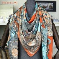 Мода дизайн квадратный шелковый шарф женские футболки Prathed Bandana дамы шаль Hijab элегантное оголовье кольцо шарфы обволочки 130 * 130см 201218