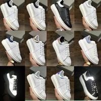 Дизайнерские туфли тренажеры отражающие 3M белые кожаные платформы кроссовки женские мужские плоские повседневные вечеринки свадебные туфли замшевые спортивные кроссовки36-40