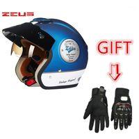 2020 Zeus 381C 3/4 헬멧 오토바이 레트로 Casco 스쿠터 Capacete 선글라스와 빈티지 얼굴을 엽니 다.