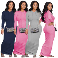 Soild Color Womens Casual Dresses Hooded Slim Womens Long Sl...