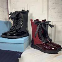 Stivali da donna Black Rockoko Stivali da combattimento Designer Sock Ornamental Engraving Martin Boot Real in pelle Stivaletti Stivaletti Lace-Up Scarpe da calzino a maglia