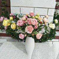 الزهور الزهور أكاليل 10 قطع 6 شكل الاصطناعي ارتفع زهرة فرع ل النبات جدار خلفية الزفاف الممر سقف المنزل شريط مكتب