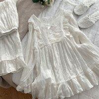 Осень зима мягкие хлопчатобумажные женские пижамы наборы старинные сладкие женские белые пижамы с длинным рукавом с длинным рукавом сонные костюмы плюс размер Y200708