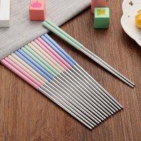 Pauzinhos de aço inoxidável de trigo Chopsticks de viagem portátil Hashis não deslizante de mesa de alta qualidade com cores diferentes 1 8ld j1