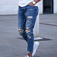 Mens jeans moda rasgado buraco denim calças grandes tamanho homens afligidos calças casuais cor sólida calças longas homens calças de brim dos homens # 3