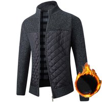 Men's Fleece Sweater Coat Winter Thick Patchwork Wool Cardigan Warm Knitted Sweater Jackets Casual Male Clothing