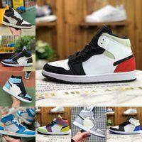 Ucuz Yüksek 1 1 S Basketbol Ayakkabı Erkek Kadın Bio Hack Ampul Mavi Kızıl Tonu UNC Kırmızı Beyaz Siyah Kraliyet Büküm Yeşil Toe Tasarımcıları