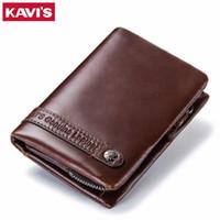 KAVIS Echtes Leder Brieftasche Männer Karteninhaber und Münzbörse RFID Magic Walet Portfolio Mann Portomonee Mini Vallet Reiseabdeckung