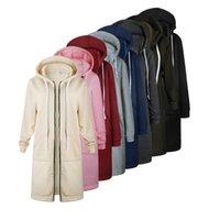 Женщины длинные пальто молния с капюшоном осень зима повседневные свободные женские пальто толстовки толстовки толстовки плюс размер 5XL Y201001