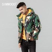 kat erkekler sıcak kamuflaj kapüşonlu kontrast renk ceket kaliteli marka giyim SI980633 Q1119 aşağı SIMWOOD Kış yeni% 80 beyaz ördek