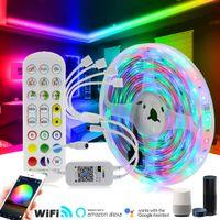 RGB LED RIST LEAD 2835 5050 Гибкая неоновая лента 5M 10M 15M 20M RGB Изменчивый WiFi Музыкальный контроллер + DC12V Adapter Plug