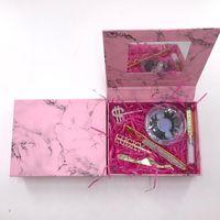 2021 New Arrival Eyelash Case With Mirror Luxury 25mm Mink Lashes Rhinestone eyeliner glue pen tweezers hairclips