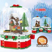Счастливого Рождества Санта-Клаус Строительные блоки DIY Город Рождество вращающиеся светодиодные сияющие хижины Дом кирпича подарочные игрушки для детей J1202