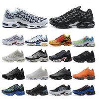 Yeni Erkek TN Artı Koşu Ayakkabıları Üçlü Siyah Beyaz Gökkuşağı Hiper Mavi Supernova Brushstroke Camo Erkekler Eğitmenler Açık Spor Sneakers