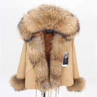 Маамаконг Хаки короткий цвет Parka зимняя куртка женщин Parkas Real Wh Part натуральный енот из енота шерсть искусственный меховой лайнер роскошь 201017