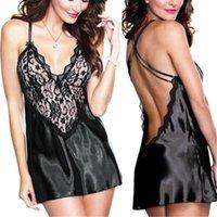 Kadınlar Seksi Pijama Tasarımcı Dantel Sutyen Spagetti Kayışı Çapraz Backless Elbiseler Derin V Yaka Pijama Gece Elbise Boyut S TO 2XL