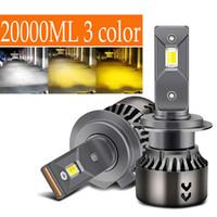 2X H4 H7 LED 3 اللون 20000LM 65W 3000K 4500K 6000K 12V Canbus سيارة H1 H3 H8 H11 9005 HB3 9006 HB4 9003 HB2 LED المصباح المصباح