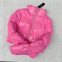 ATXYXTA Обрезанный Пуховая куртка Пузырь Пальто Зима Парка Женщины Новая Мода Одежда Черный Красный Розовый Y201012
