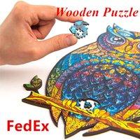 Wholesale de madeira puzzle A5 adullt criança brinquedo educacional forma de serra de vaivém de forma criativa jogo criativo presentes para crianças Envio por FedEx A12