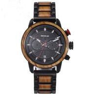 HWP Новый стиль древесины кварцевые движения мужчины часы хронографа полная фурка черный циферблат мужские часы черный деревянный лент бесплатная доставка