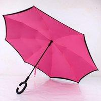 더블 레이어 pongee 방수 역 접는 우산 크리 에이 티브 접이식 c 형 태양 보호 휴대용 우산 해상 CCE4319