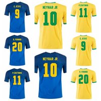 Soccer 10 Neymar Jr Jersey 20 Firmino 11 Coutinho 2 Silva 13 Dani Alves 7 Neres 21 Richarlison Jesus Camisa de Futebol Kits B-X