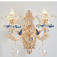 American Romantic Crystal Wall Lamps European Ceramic Crystal Wall Lights Fixture LED Lamp Lampada singola 2 Lampade Home Indoor Lighting
