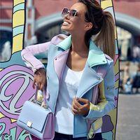 TACKRES Bayan Temel Ceket Renkli Eklenmiş Çapraz Fermuar Ceketler Kadın Epaulet Tasarım Turn-down Yaka Coat 201023