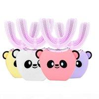 7-14 سنة الخامس الاطفال البيض الأطفال الكهربائية فرشاة الأسنان u نوع 360 درجة التلقائي الأطفال سونيك فرشاة الأسنان